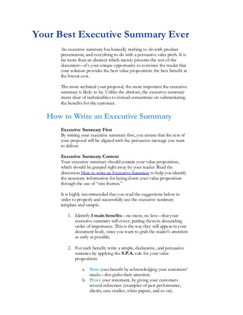 best executive summary template executive summary