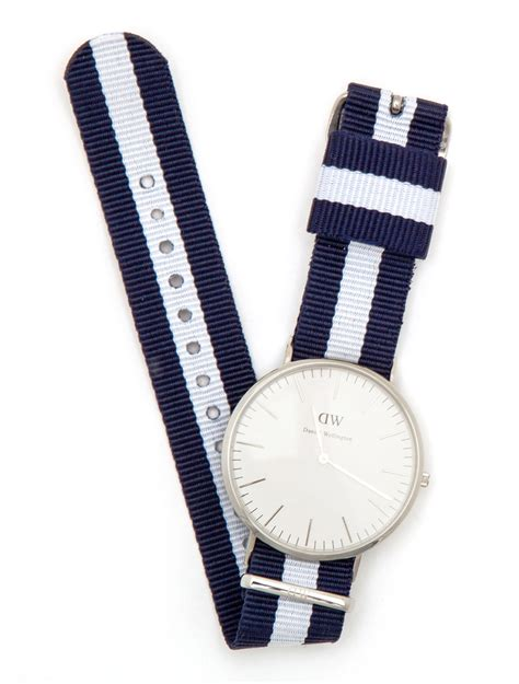 Daniel Wellington Paket Blue White Black daniel wellington silver faced with blue band in blue for lyst