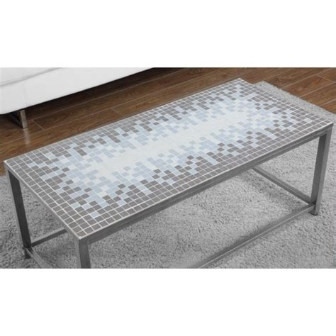 cocktail table in hammered silver with blue tile top i 3140
