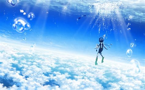 anime girl scenery wallpaper maouki images 45905 anime scenery blue sky anime scenery