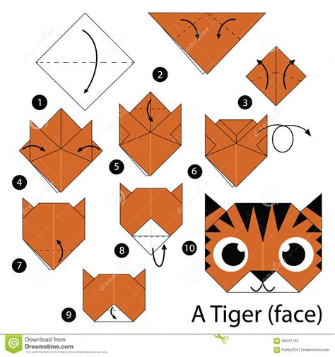 step by step how to make origami a tiger