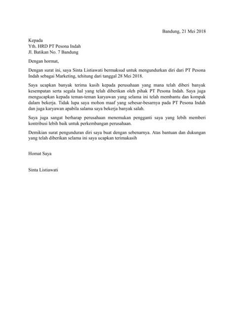 contoh surat pengunduran diri atau resign doc