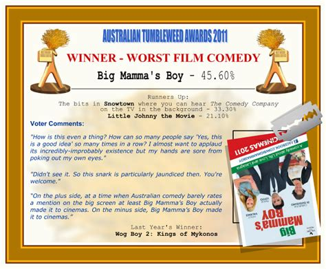 film comedy vulgar australian tumbleweed awards 2011 worst film comedy