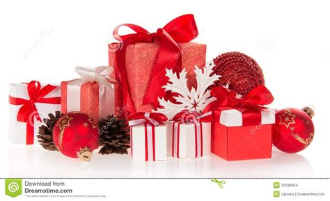 gift boxes snowflakes and pine cones stock images image