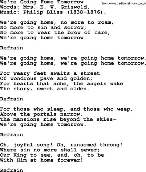 we re going home tomorrow by philip bliss christian hymn