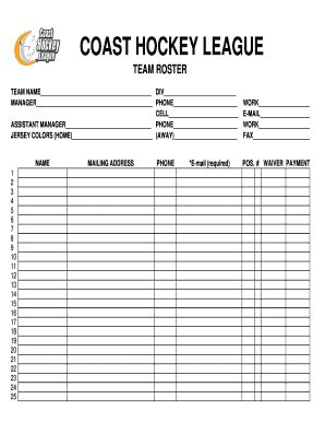 Lineup Card Template Hockey by Hockey Roster Lineup Template Fill Printable