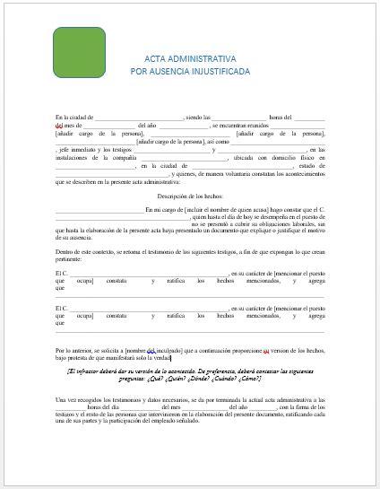 machote de acta administrativa acta administrativa por faltas gt ejemplos y formatos