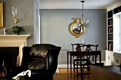 gavin adds richness drama to his quot coolonial quot living and dining rooms with gray painted walls