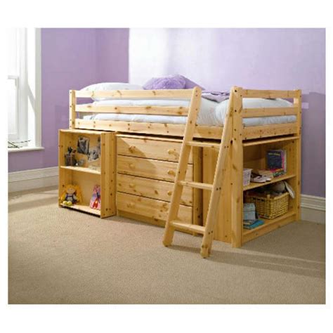 Pine Mid Sleeper Bed by Mid Sleeper Office Solid Pine Storage Bed