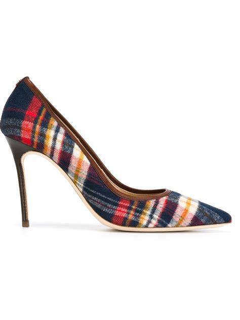 pattern for heels lyst dsquared 178 tartan pattern pumps in red