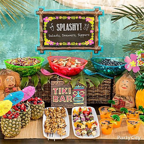 tiki buffet table idea luau food ideas luau party