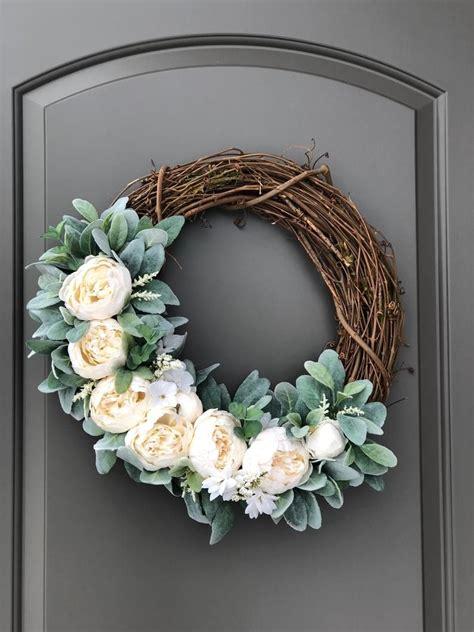 spring wreaths  front door wedding wreath white wreath