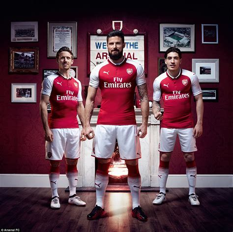 arsenal new kit arsenal launch new 2017 18 home kit with sanchez and ozil