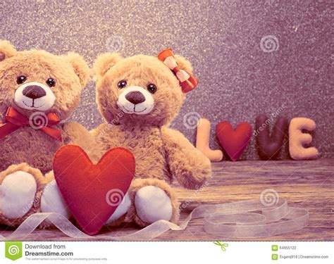 wallpaper couple bear valentines day word love heart couple teddy bears stock