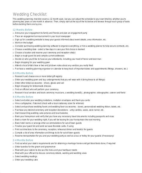 Wedding Checklist Xls by Checklist Template 19 Free Word Excel Pdf Documents