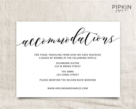 wedding hotel accommodation card template wedding accommodations template printable accommodations