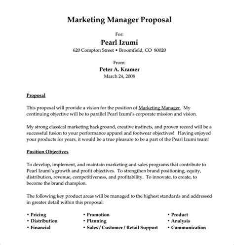 sample job proposal templates google docs ms