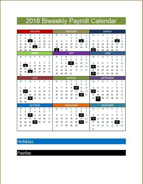 2018 Biweekly Payroll Calendar Template Microsoft Word Excel Templates 2018 Weekly Payroll Calendar Template
