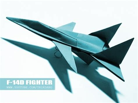 Origami F 14 - how to make an origami jet fighter paper airplane f 14