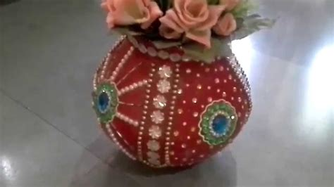 How To Decorate A Pot by Clay Pot Decorated By Using Kundan How To Decorate Pot