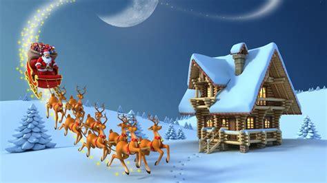 merry christmas reindeer santa claus wooden house snow desktop hd wallpaper