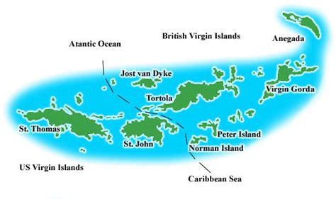map of bvi and usvi islands windjammer cruises and caribbean sailing