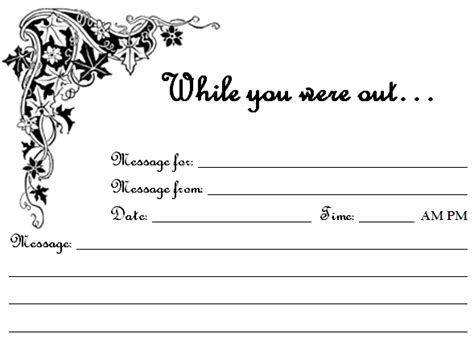 while you were out template free printable quot while you were out quot phone message sheets