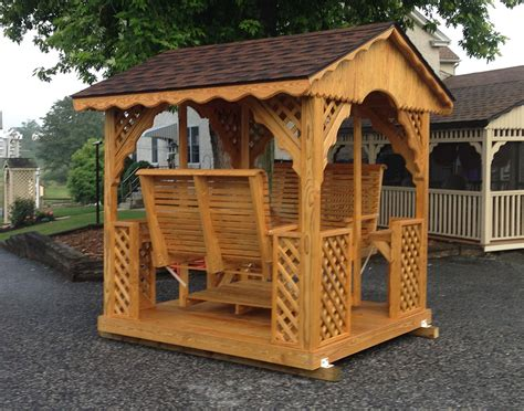gazebo swing treated pine gable roof rectangle gazebo swings gazebo