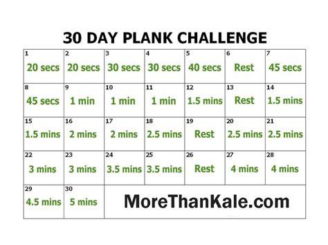 30 Day Plank Challenge Printable