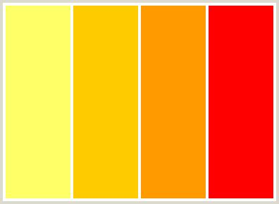 best orange color code colorcombo13 with hex colors ffff66 ffcc00 ff9900 ff0000