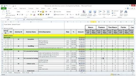 project  resource planning excel template