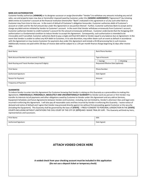 Sle Ach Authorization Form In Word And Pdf Formats Ach Agreement Template