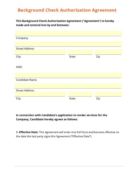 Background Check Employee Business Form Template Gallery