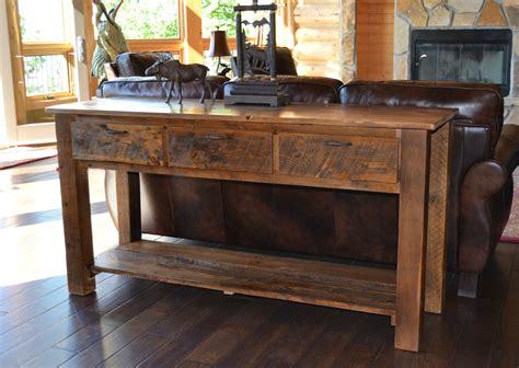 Custom Kitchen Islands by Reclaimed Teton 3 Drawer Sofa Table Rustic Furniture Mall By Timber Creek