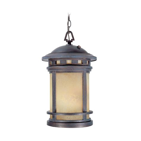 Outdoor Hanging Light With Amber Glass In Mediterranean Mediterranean Outdoor Lighting