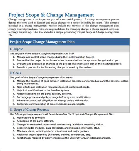 change management template free sle change management plan template 9 free documents