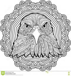 Coloring Page For Adults Stern Eagle On A Background Of A
