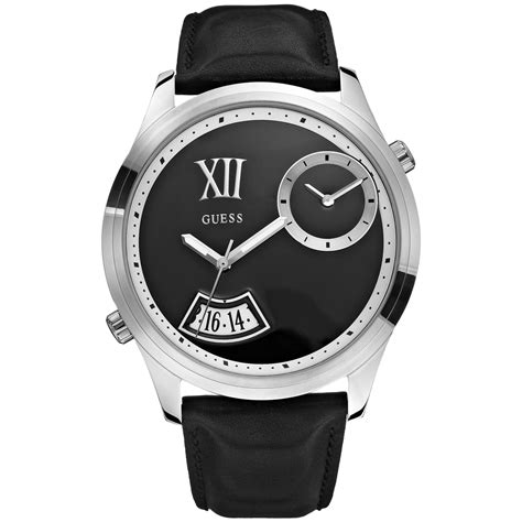 guess mens dual time black leather 50mm in silver for black lyst