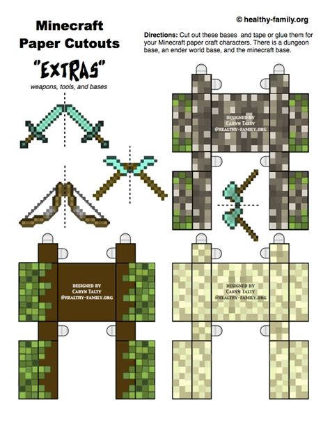 Minecraft Papercraft Templates - 8 best images of minecraft tree block printables