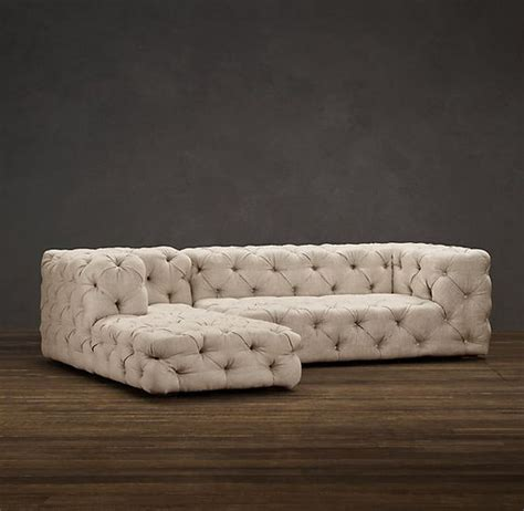Soho Tufted Upholstered Left Arm Sofa Chaise Sectional Restoration Hardware Tufted Sofa