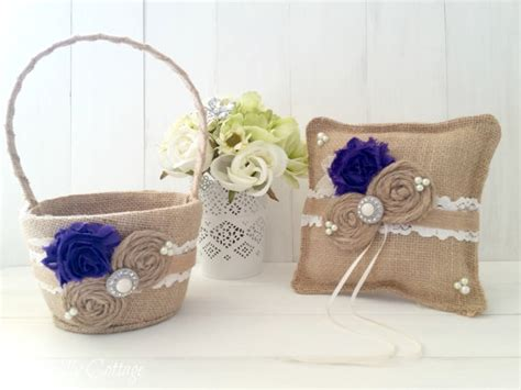 Ring Pillows And Flower Baskets by Purple Shabby Ring Bearer Pillow And Flower Basket Set Burlap Pillow Rustic Wedding