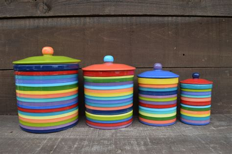 Ceramic Kitchen Canister by One Of A Kind Set Of 4 Rainbow Striped Ceramic Canister Set