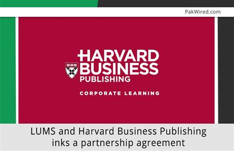 Harvard Mba Publisjing by Lums And Harvard Business Publishing Inks A Partnership