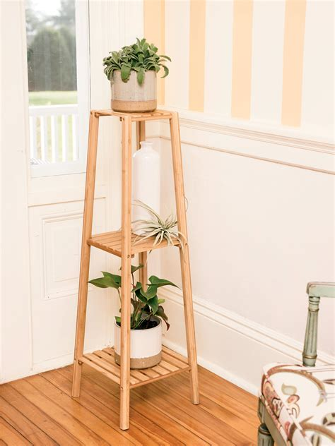 bamboo  tier plant stand gardeners supply