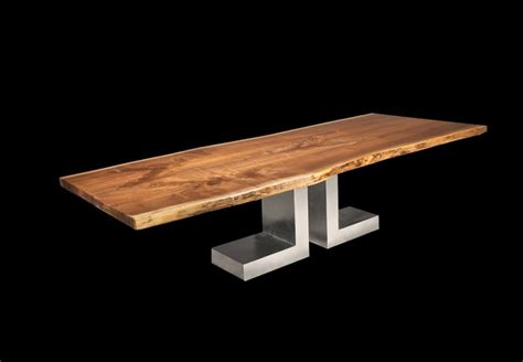 Table L Silver Base by L Silver Base And Black Walnut