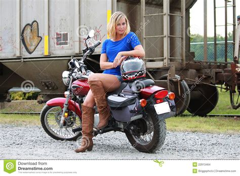 Model Motorrad by Model On Motorcycle Stock Photo Image Of Attractive