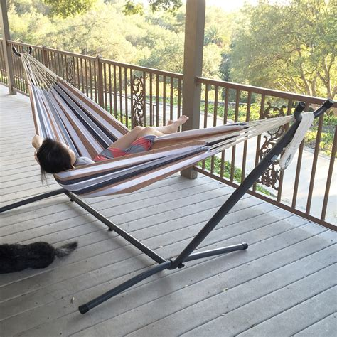 portable porch swing double hammock bed patio swing steel stand includes
