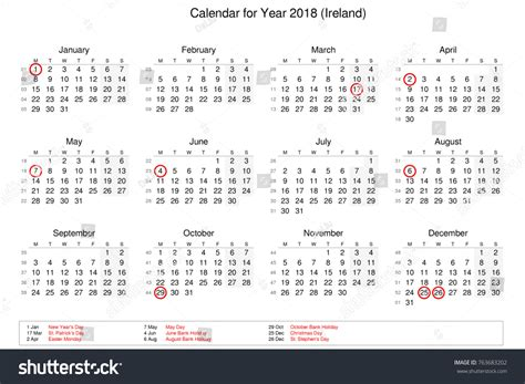 printable calendar ireland 2018 calendar year 2018 public holidays bank stock illustration