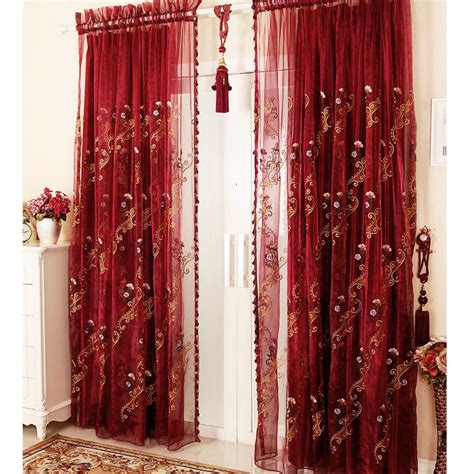 red sheer curtains european romantic half blackout luxury flocking red sheer