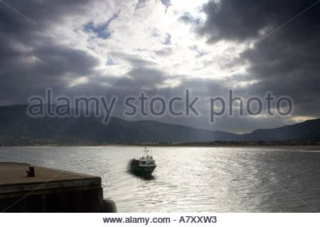 red bay boats ltd fishing boat sheltering in harbour stock photo royalty